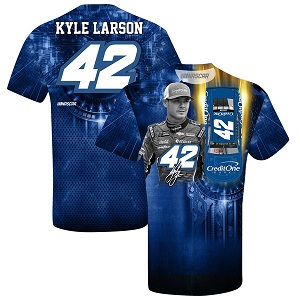 Kyle Larson #42 2019 Credit One sublimated blue t-shirt