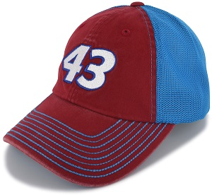 Darrell Bubba Wallace #43 2018 Richard Petty Motorsports red and blue mesh trucker hat