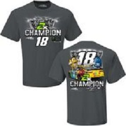 Kyle Busch #18 2019 M and Ms Championship Trophy gray t-shirt