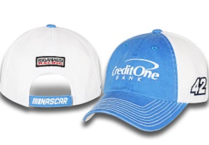 Kyle Larson #42 2018 Credit One blue and white trucker hat