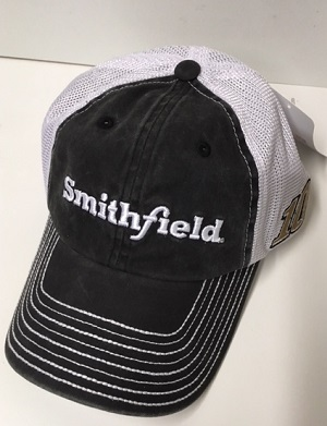 Aric Almirola #10 2018 Smithfield black and white trucker hat