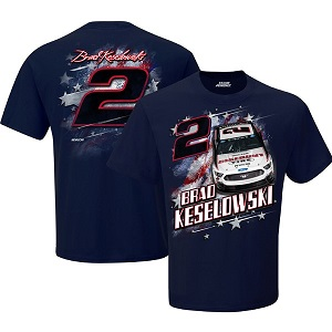 Brad Keselowski #2  2019 Discount Tires Patriotic navy blue  t-shirt