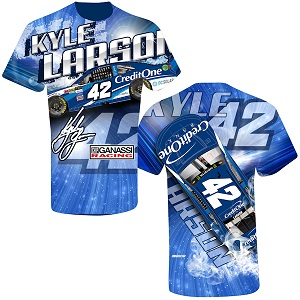 Kyle Larson #42 2018 Credit One Prism sublimated  t-shirt