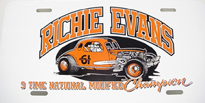 Richie Evans #61 metal license plate coupe 9 time champ