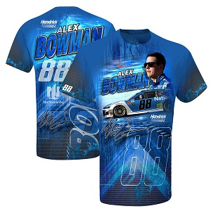 Alex Bowman #88 Nationwide Insurance Hendrick Motorsports blue Prism sublimated  t-shirt