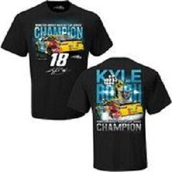 Kyle Busch #18 2019 Monster Energy Cup Champion Victory  Black t-shirt