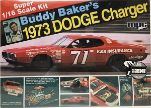 Buddy Baker's #71 Super 1/16th scale K&K Insurance 1973 Dodge Charger MPC model car kit