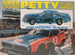Richard Petty #43 Super 1/16th scale 1973 STP Dodge Charger MPC model car kit