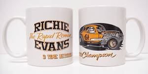 Richie Evans #61 9 Time Champ 12 ounce ceramic coffee mug