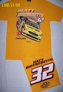 Matt DiBenedetto #32 Can-Am  two sided yellow Ford Fusion Spoiler tee shirt