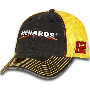 Ryan Blaney #12 2018 Menards Yellow and black trucker mesh hat