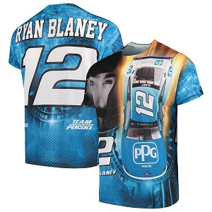 Ryan Blaney #12 2019 PPG sublimated blue t-shirt