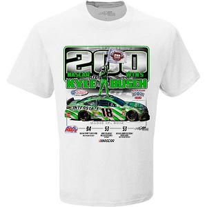 Kyle Busch #18 2019 Interstate Batteries 200th Win white t-shirt