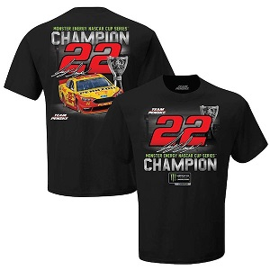Joey Logano #22 2018 Pennzoil NASCAR Monster Energy 2018 Champion black t-shirt