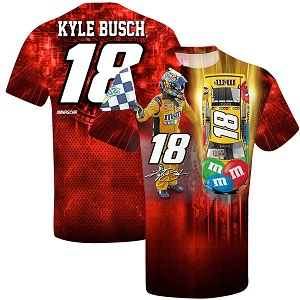 Kyle Busch #18 2019 M and Ms sublimated red total print  t-shirt