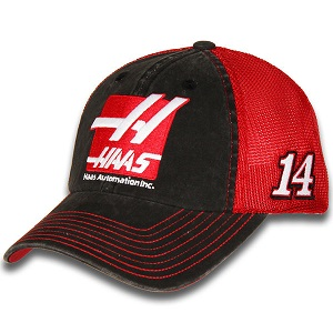 Clint Bowyer #14 2018 Haas Automation red and black mesh trucker hat