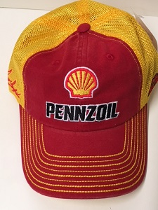 Joey Logano #22 2018 Pennzoil yellow and red trucker mesh hat