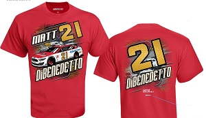 Matt DiBenedetto #21 Motorcraft Wood Brothers red camber t-shirt