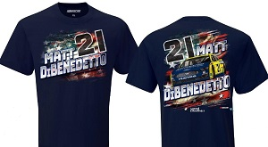 Matt DiBenedetto #21 Menards Wood Brothers patriotic blue t-shirt