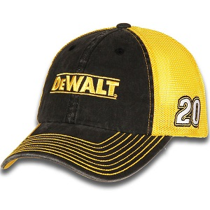 Erik Jones #20 2018 Dewalt gold and black mesh trucker hat