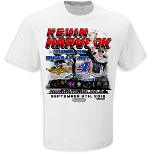 Kevin Harvick #4 2019 Mobil 1 white Brickyard 400 winner t-shirt