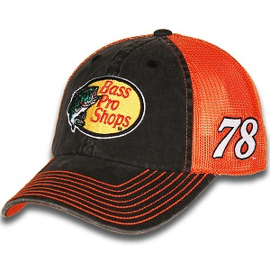 Martin Truex Jr. #78 2018 Bass Pro Shops orange and black mesh trucker hat