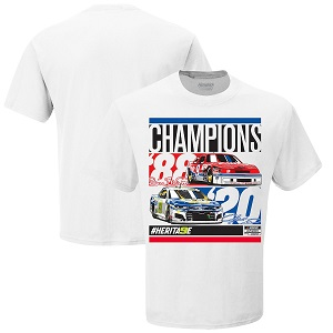 Chase Elliott #9 and Bill Elliott #9 NASCAR Champions white t-shirt Like father like son