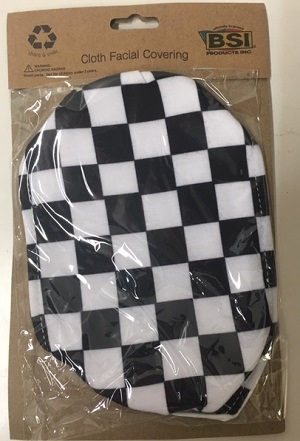 Checkered Flag cloth face covering double layer adult mask